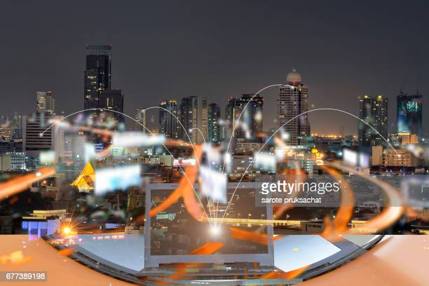 Network and Connection technology concept with city background.
