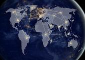 network and world map,networking concept,Elements of this image furnished by NASA
