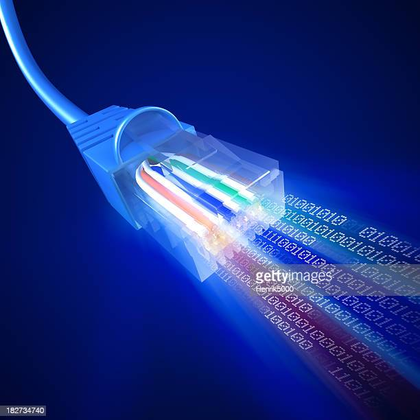 Network cable emittig stream of binary data
