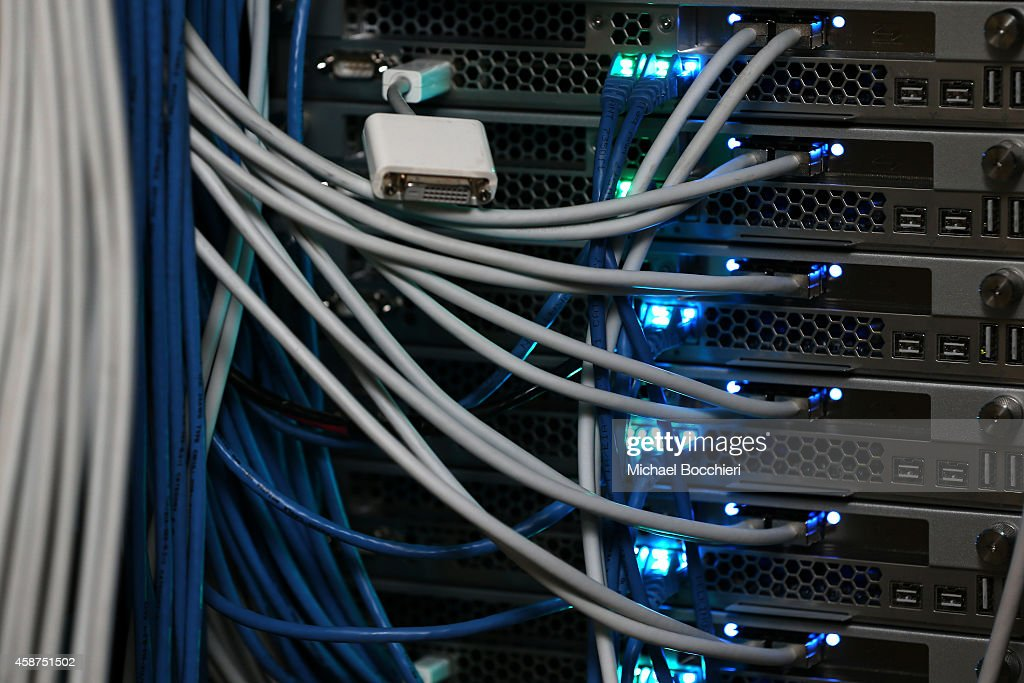 Network cables are plugged in a server room on November 10 2014 in New York City US President Barack Obama called on the Federal Communications...