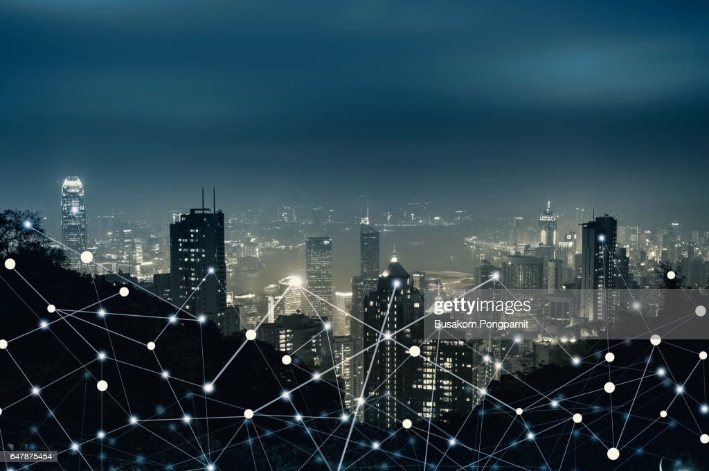 Network City Digital Connection Technology Concept : Stock Photo