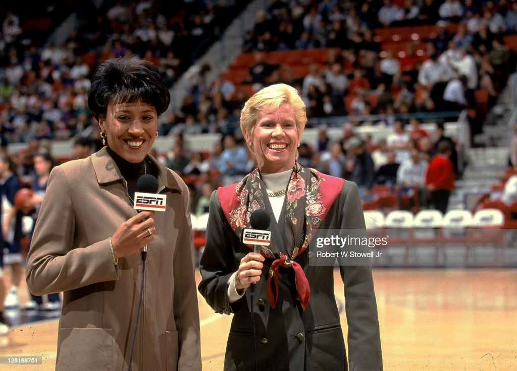 ESPN network commentators Mimi Griffin left and Robin Roberts right do a pregame report from the court prior to a University of Connecticut women's...