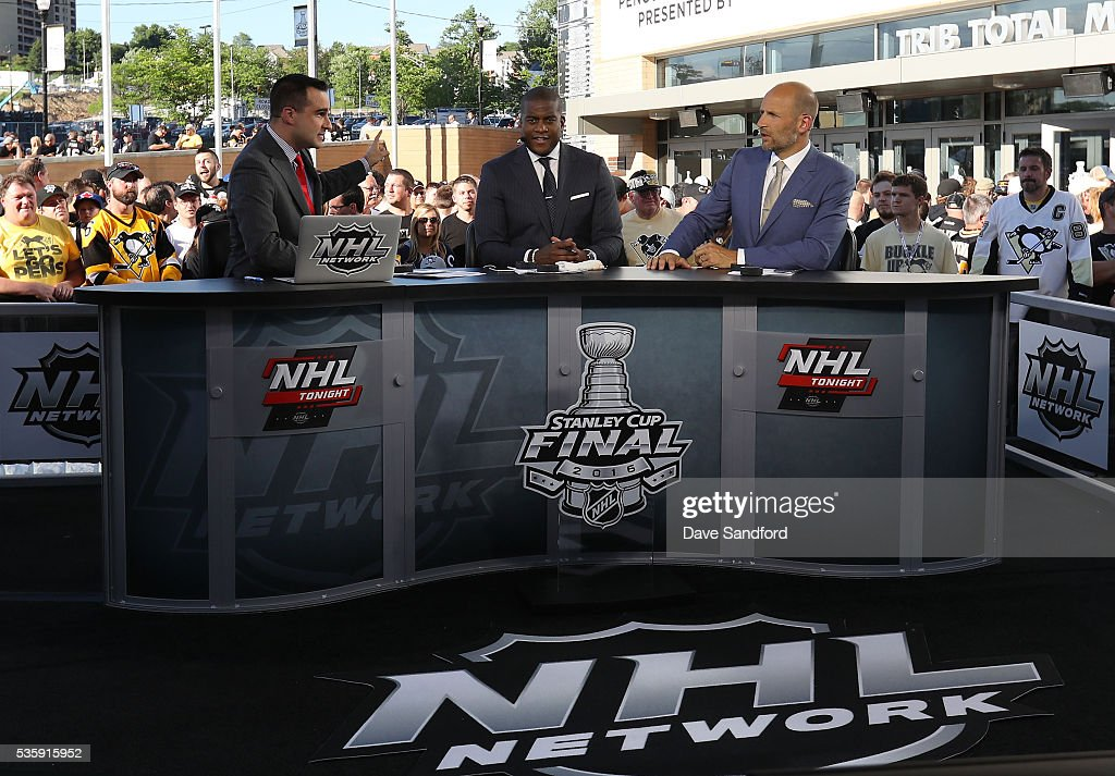 NHL Network commentators Tony Luftman, <a gi-track='captionPersonalityLinkClicked' href=/galleries/search?phrase=Kevin+Weekes&family=editorial&specificpeople=203098 ng-click='$event.stopPropagation()'>Kevin Weekes</a> and Mike Rupp cover Game One of the 2016 NHL Stanley Cup Final between the San Jose Sharks and the Pittsburgh Penguins at Consol Energy Center on May 30, 2016 in Pittsburgh, Pennsylvania.