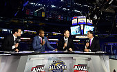 NHL Network commentators Tony Luftman Kevin Weekes Mike Rupp and Scott Stevens speak during the 2016 Honda NHL AllStar Skill Competition as part of...
