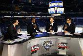 NHL Network commentators Tony Luftman Kevin Weekes Mike Rupp and Scott Stevens speak after the 2016 Honda NHL AllStar Game at Bridgestone Arena on...