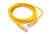 Network ethernet cable with RJ45 connectors on white background