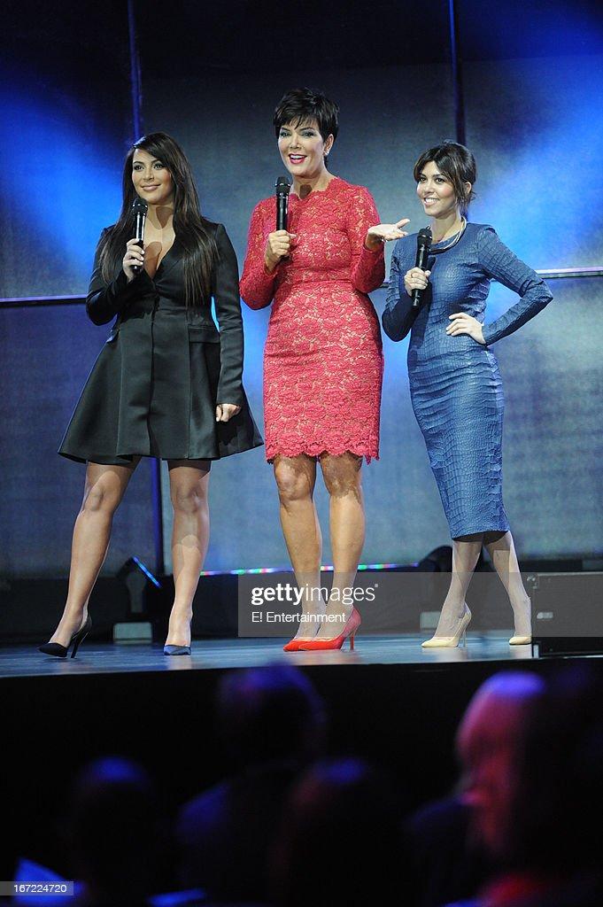 E! Network Events -- 'E! Entertainment 2013 Upfront at The Grand at Manhattan Center Studios' -- Pictured: (l-r) Kim Kardashian, Kris Jenner, Kourtney Kardashian --