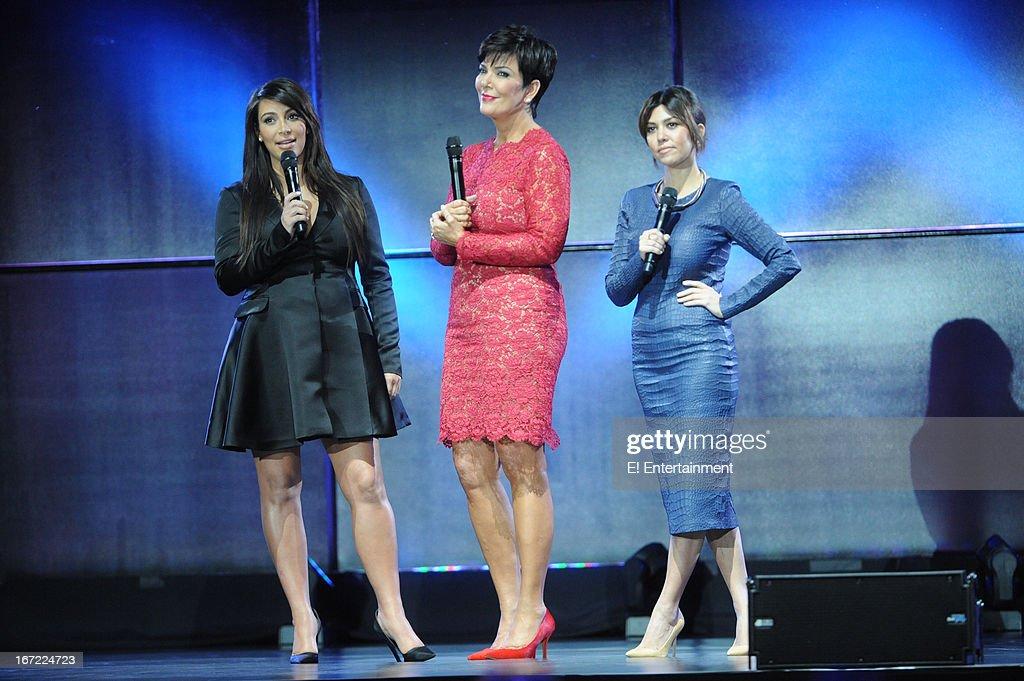 E! Network Events -- 'E! Entertainment 2013 Upfront at The Grand at Manhattan Center Studios' -- Pictured: (l-r) Kim Kardashian, Kris Jenner, Kourtney Kardashian--