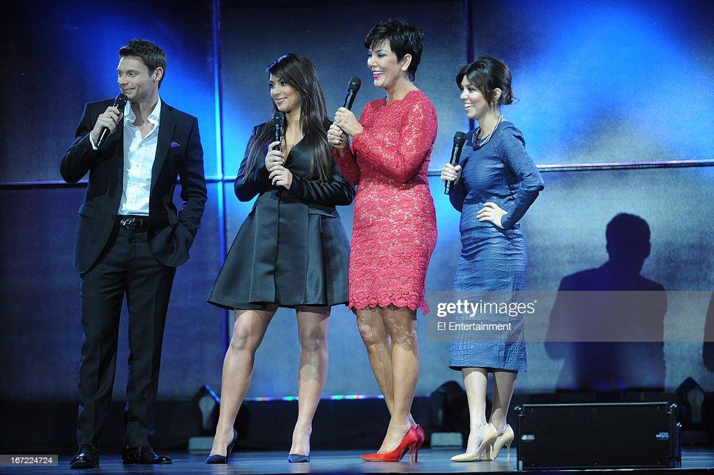 E! Network Events -- 'E! Entertainment 2013 Upfront at The Grand at Manhattan Center Studios' -- Pictured: (l-r) Ryan Seacrest, Kim Kardashian, Kris Jenner, Kourtney Kardashian --