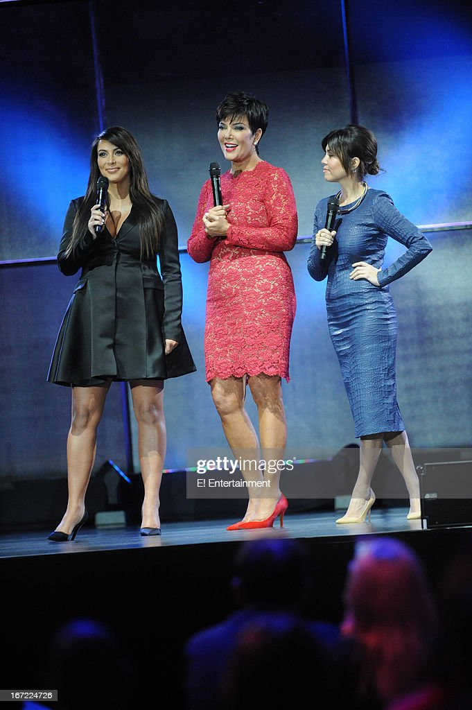E! Network Events -- 'E! Entertainment 2013 Upfront at The Grand at Manhattan Center Studios' -- Pictured: (l-r) Kim Kardashian, Kris Jenner, Kourtney Kardashian --