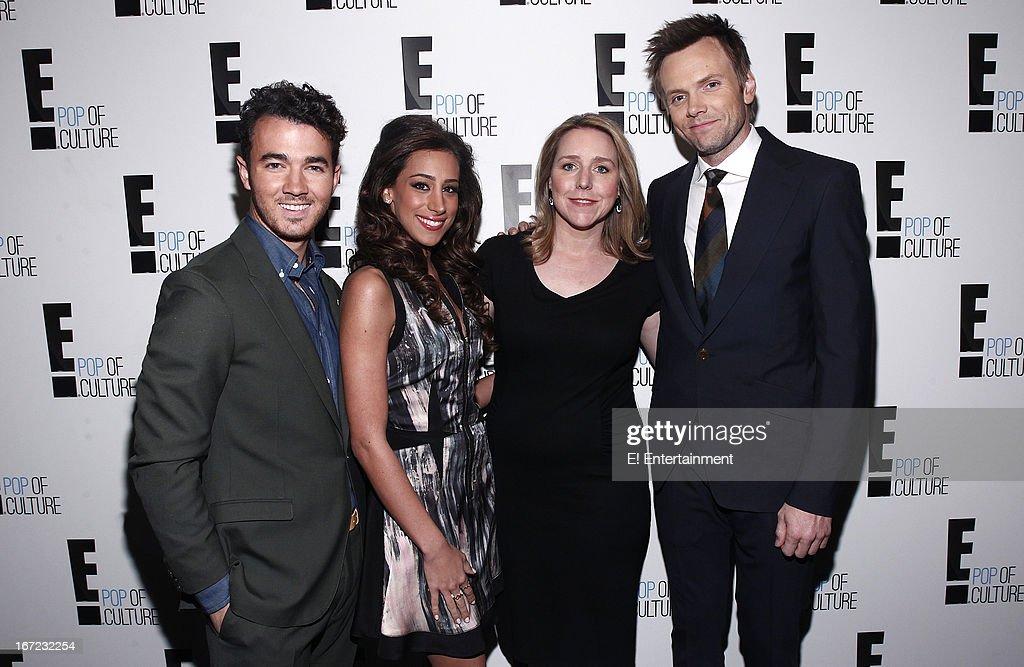 E! Network Events -- 'E! Entertainment 2013 Upfront at The Grand at Manhattan Center Studios' -- Pictured: (l-r) Kevin Jonas, Danielle Jonas, Suzanne Kolb, President, E! Entertainment, Joe McHale --
