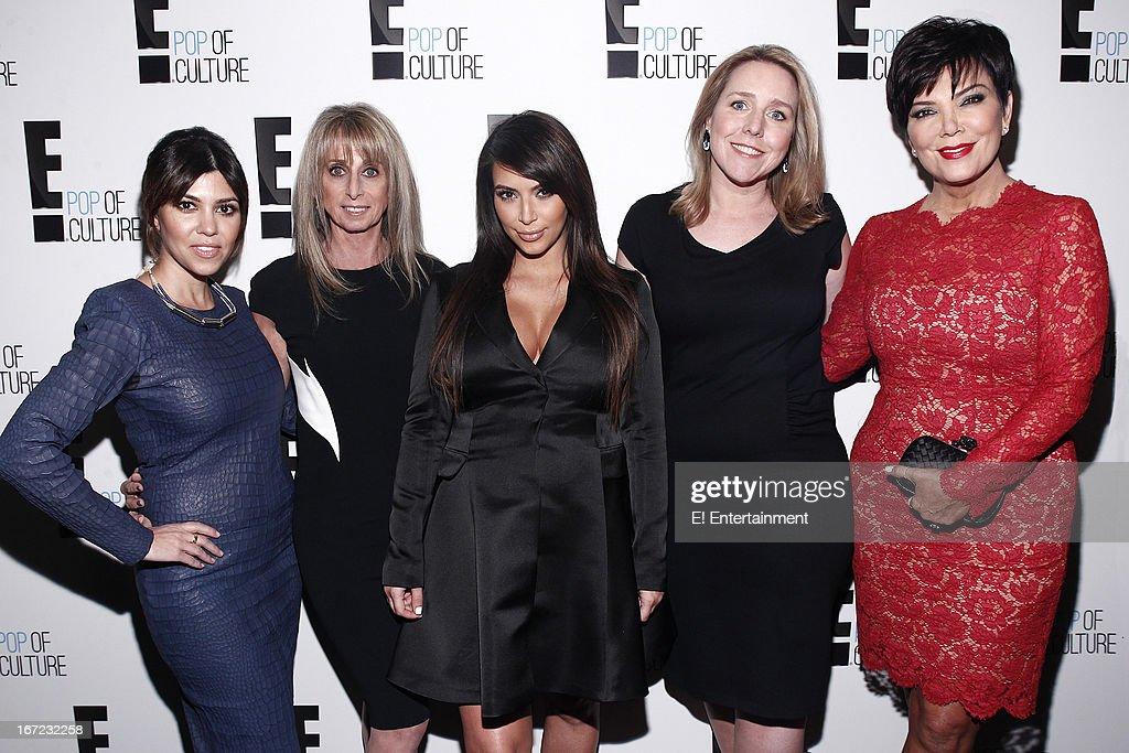 E! Network Events -- 'E! Entertainment 2013 Upfront at The Grand at Manhattan Center Studios' -- Pictured: (l-r) Kourtney Kardashian, Bonnie Hammer, Chairman, NBCUniversal Cable Entertainment Group, Kim Kardashian, Suzanne Kolb, President, E! Entertainment, Kris Jenner --