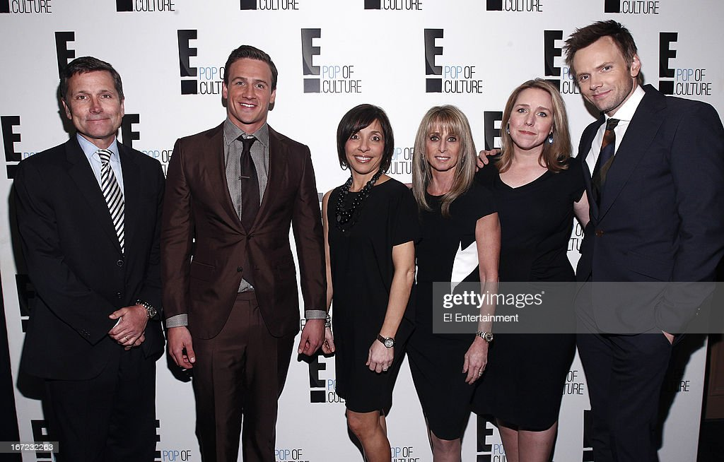 E! Network Events -- 'E! Entertainment 2013 Upfront at The Grand at Manhattan Center Studios' -- Pictured: (l-r) Steve Burke, Chief Executive Officer, NBCUniversal, Ryan Lochte, Linda Yaccarino, President, Advertising Sales, NBCUniversal, Bonnie Hammer, Chairman, NBCUniversal Cable Entertainment Group, Suzanne Kolb, President, E! Entertainment, Joe McHale --