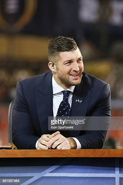 Network football analyst Tim Tebow before the 2017 College Football National Championship Game between the Clemson Tigers and Alabama Crimson Tide on...