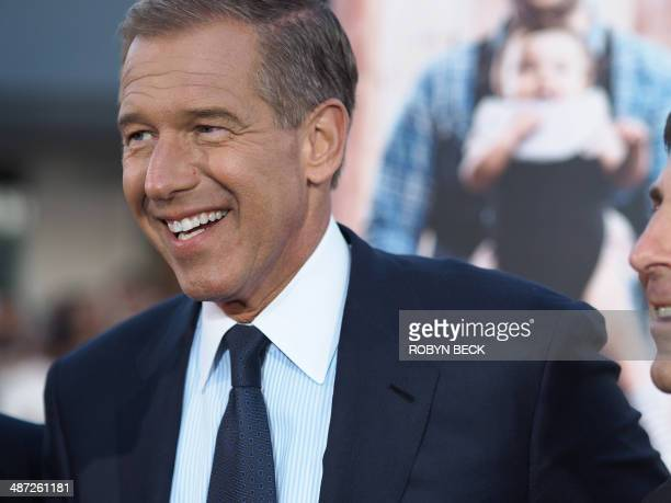 NBC network news anchorman Brian Williams arrives for the world premiere of 'Neighbors' April 28 2014 at the Regency Village Theater in Los Angeles...