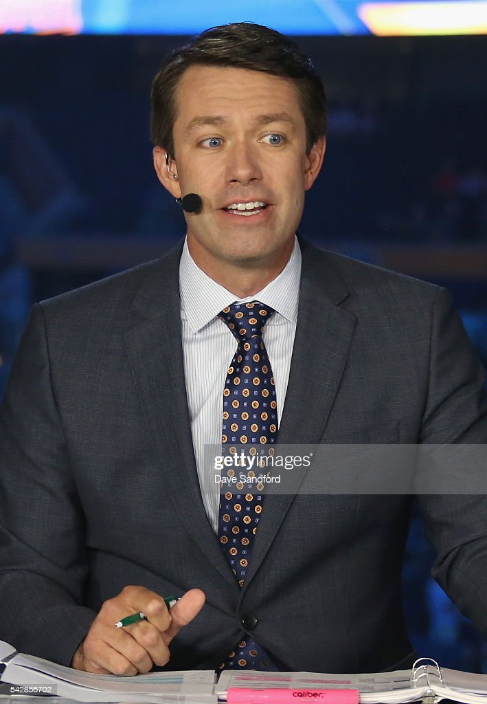 Network on-air talent <a gi-track='captionPersonalityLinkClicked' href=/galleries/search?phrase=Brian+Boucher&family=editorial&specificpeople=179370 ng-click='$event.stopPropagation()'>Brian Boucher</a> provides commentary for coverage of round one of the 2016 NHL Draft at First Niagara Center on June 24, 2016 in Buffalo, New York.