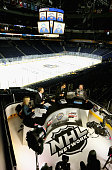 NHL Network panel Kathryn Tappan Mike Rupp and Scott Stevens speak to Steven Stamkos of the Tampa Bay Lightning during Media Day for the 2016 NHL...