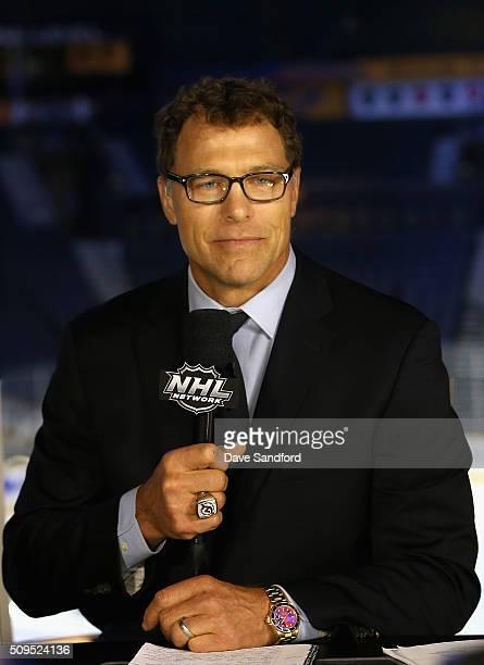 Network panelist Scott Stevens speaks before 2016 Honda NHL AllStar Game at Bridgestone Arena on January 31 2016 in Nashville Tennessee