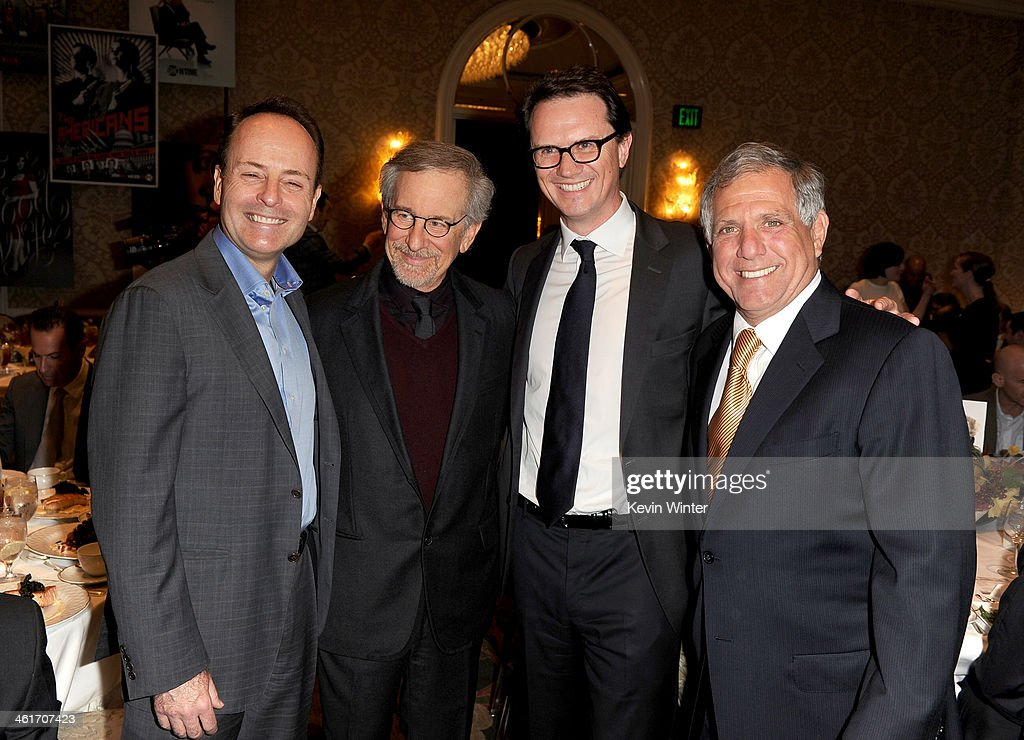 FX Network president and executive producer of the show 30 Days <a gi-track='captionPersonalityLinkClicked' href=/galleries/search?phrase=John+Landgraf&family=editorial&specificpeople=537636 ng-click='$event.stopPropagation()'>John Landgraf</a>, Director <a gi-track='captionPersonalityLinkClicked' href=/galleries/search?phrase=Steven+Spielberg&family=editorial&specificpeople=202022 ng-click='$event.stopPropagation()'>Steven Spielberg</a> and Chairman of Fox Broadcasting <a gi-track='captionPersonalityLinkClicked' href=/galleries/search?phrase=Peter+Rice&family=editorial&specificpeople=211245 ng-click='$event.stopPropagation()'>Peter Rice</a> and Warner Bros. Pictures President of Domestic Distribution Dan Fellman attend the 14th annual AFI Awards Luncheon at the Four Seasons Hotel Beverly Hills on January 10, 2014 in Beverly Hills, California.