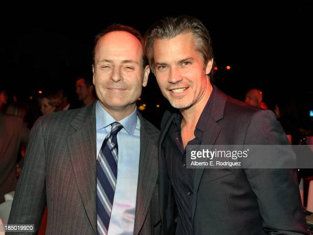 Network president John Landgraf and Timothy Olyphant attend The Paley Center for Media's 2013 benefit gala honoring FX Networks with the Paley Prize...