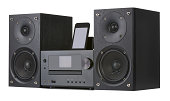 Network receiver system,digital usb, cd player and mp3 against white background