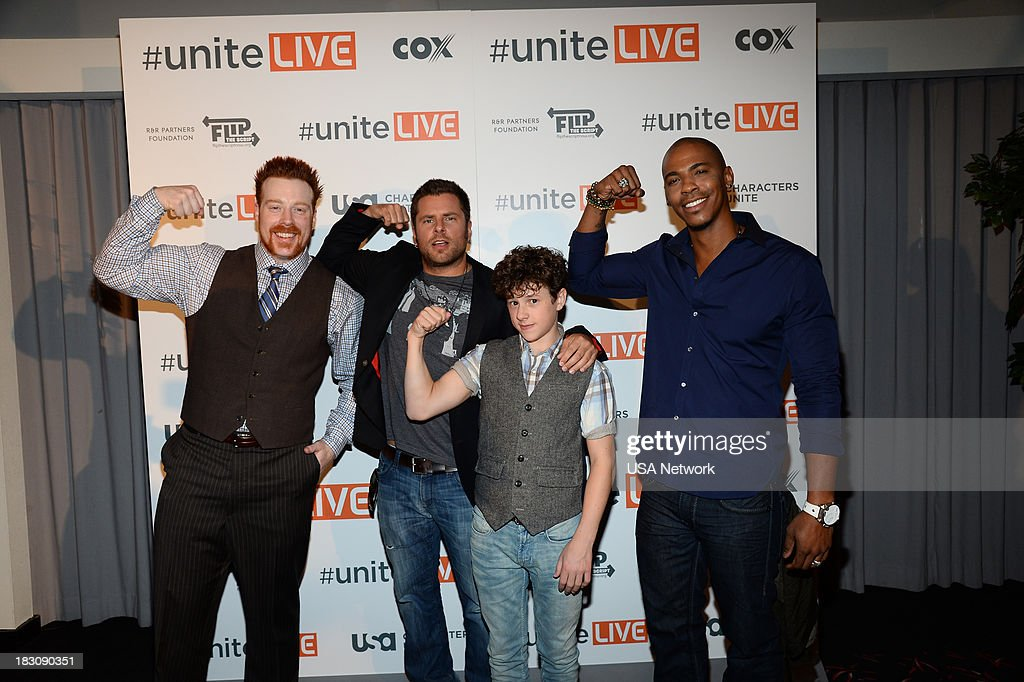 'USA Network, R&R Partners Foundation?s Flip the Script, Cox Communications and MGM Resorts International host #UniteLIVE: The Concert to Rock Out Bullying headlined by recording artist Carly Rae Jepsen' -- Pictured: (l-r) Sheamus, WWE Wrester; James Roday from Psych; Nolan Gould from Modern Family; Mechas Brooks from Necessary Roughness --