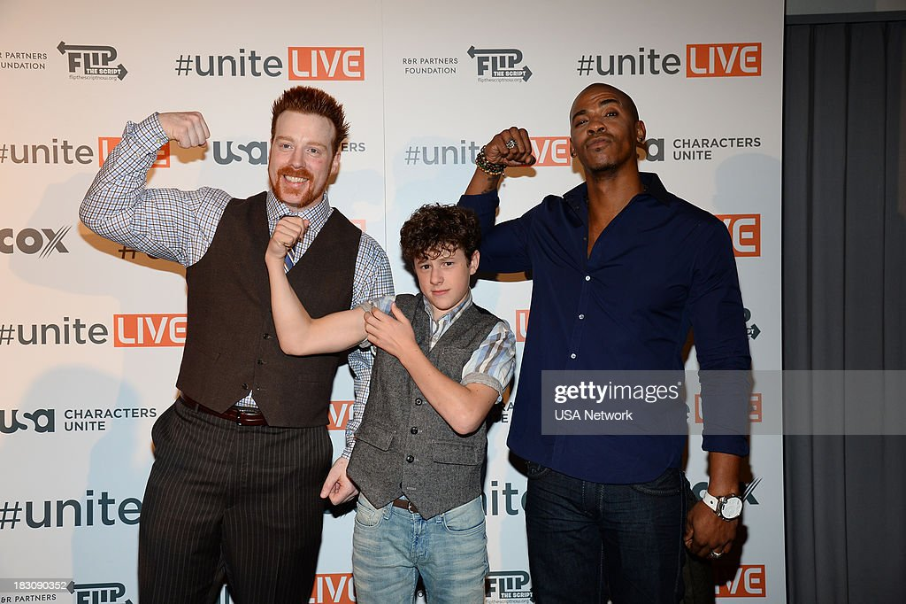 'USA Network, R&R Partners Foundation?s Flip the Script, Cox Communications and MGM Resorts International host #UniteLIVE: The Concert to Rock Out Bullying headlined by recording artist Carly Rae Jepsen' -- Pictured: (l-r) Sheamus, WWE Wrester; Nolan Gould from Modern Family; Mechas Brooks from Necessary Roughness --