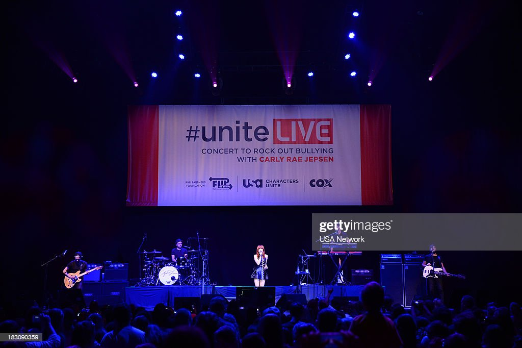 'USA Network, R&R Partners Foundation?s Flip the Script, Cox Communications and MGM Resorts International host #UniteLIVE: The Concert to Rock Out Bullying headlined by recording artist Carly Rae Jepsen' -- Pictured: (l-r) --