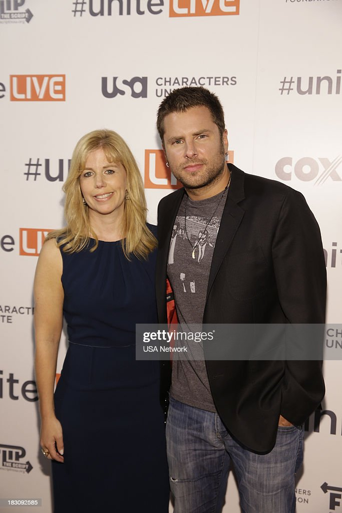 'USA Network, R&R Partners Foundation?s Flip the Script, Cox Communications and MGM Resorts International host #UniteLIVE: The Concert to Rock Out Bullying headlined by recording artist Carly Rae Jepsen' -- Pictured: (l-r) Toby Graff, USA Network SVP of Public Affairs; James Roday from Psych --