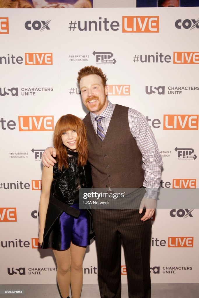 Network, R&R Partners Foundation?s Flip the Script, Cox Communications and MGM Resorts International host #UniteLIVE: The Concert to Rock Out Bullying headlined by recording artist Carly Rae Jepsen' -- Pictured: (l-r) Carly Rae Jepsen; Sheamus, WWE Wrestler --