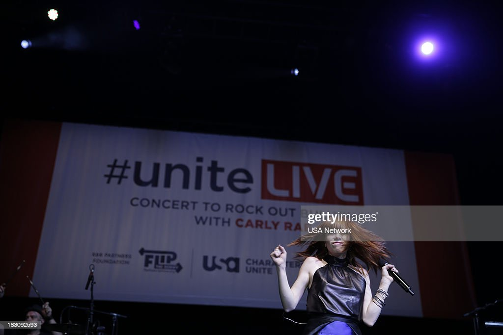 'USA Network, R&R Partners Foundation?s Flip the Script, Cox Communications and MGM Resorts International host #UniteLIVE: The Concert to Rock Out Bullying headlined by recording artist Carly Rae Jepsen' -- Pictured: Carly Rae Jepsen --