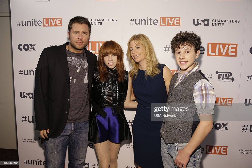 Network, R&R Partners Foundation?s Flip the Script, Cox Communications and MGM Resorts International host #UniteLIVE: The Concert to Rock Out Bullying headlined by recording artist Carly Rae Jepsen' -- Pictured: (l-r) James Roday from Psych; Carly Rae Jepsen; Toby Graff, USA Network SVP of Public Affairs; Nolan Gould from Modern Family --