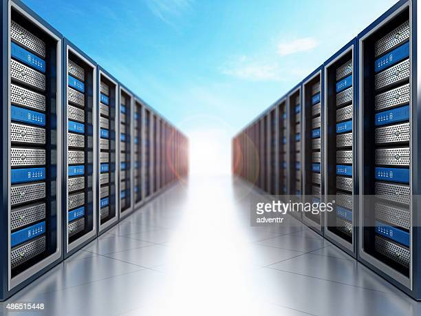 Network servers against blue sky background