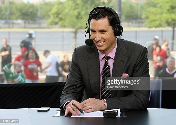 Network sportscaster Mike Johnson sits on the panel to discuss Game Two of the 2013 Stanley Cup Final between the Chicago Blackhawks and the Boston...