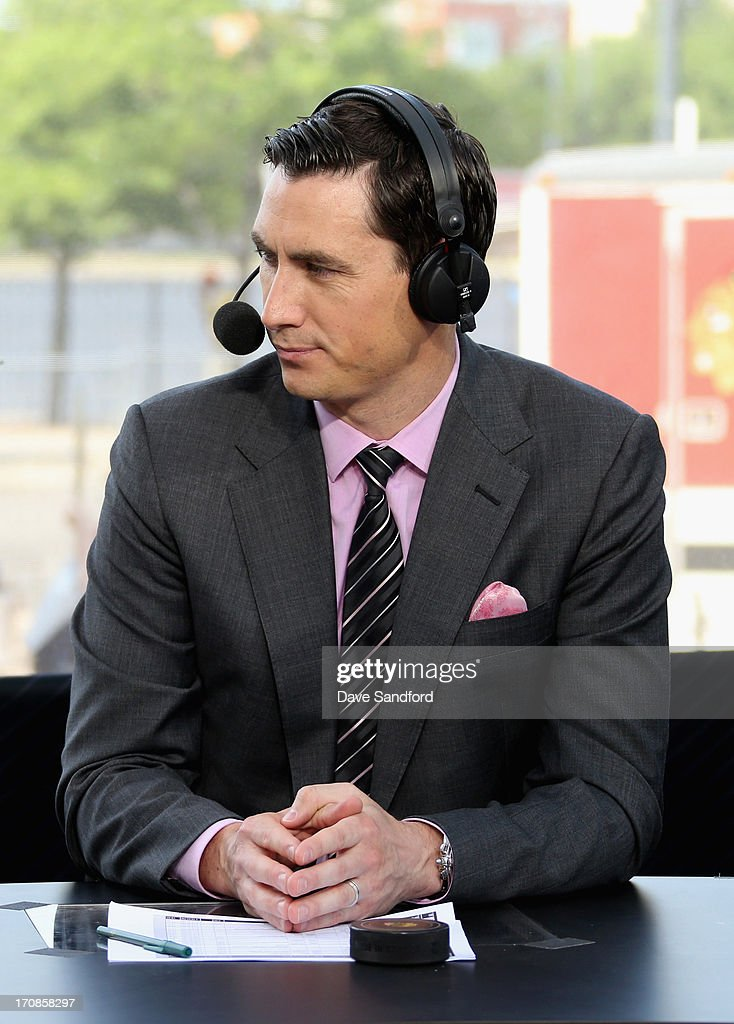 Network sportscaster Mike Johnson sits on the panel to discuss Game Two of the 2013 Stanley Cup Final between the Chicago Blackhawks and the Boston Bruins at the United Center on June 15, 2013 in Chicago, Illinois.