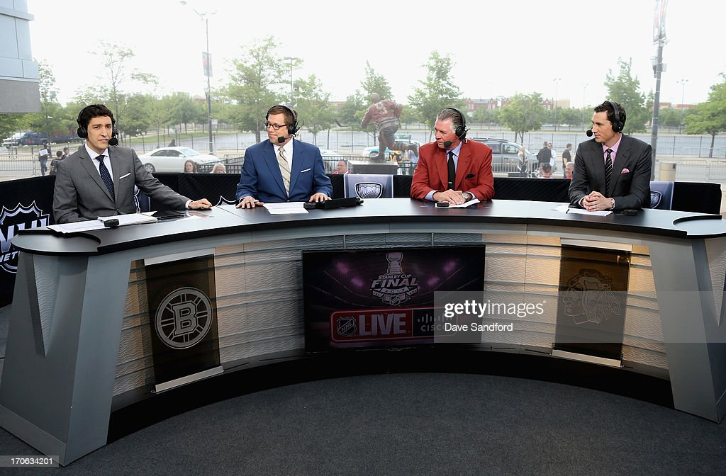 NHL Network sportscasters Steve Mears, E.J. Hradek, Barry Melrose and Mike Johnson discuss Game Two of the 2013 Stanley Cup Final between the Chicago Blackhawks and the Boston Bruins at the United Center on June 15, 2013 in Chicago, Illinois.