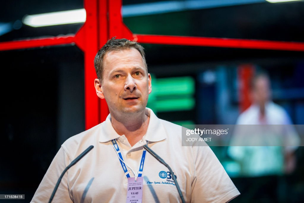 O3B networks CEO Steve Collar poses after the launching of Russian Soyouz rocket, carrying four O3b Satellite Constellation, on June 25, 2013 in Kourou space base in the French overseas department of Guiana.