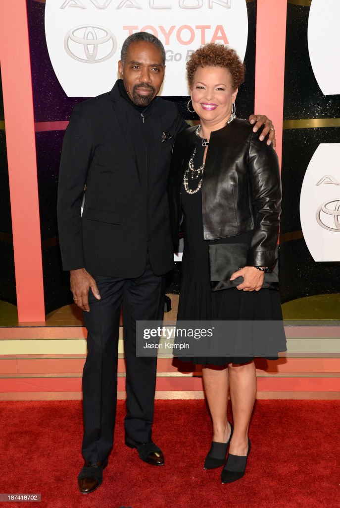BET Networks Chairman and CEO, Debra Lee (R) and President of Broadcast Media Sales for BET Networks Louis Carr attend the Soul Train Awards 2013 at the Orleans Arena on November 8, 2013 in Las Vegas, Nevada.
