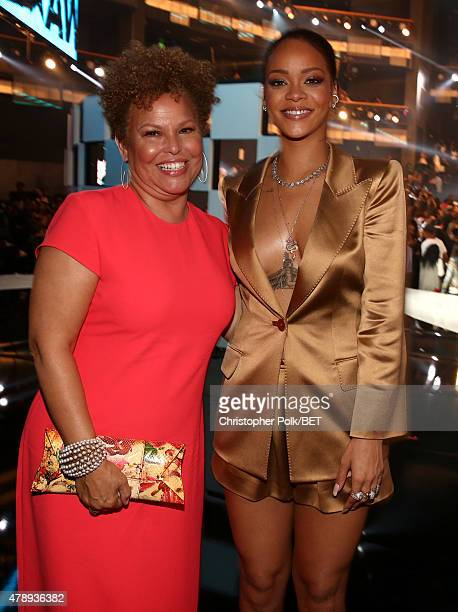 Networks Chairman and Chief Executive Officer Debra Lee and recording artist Rihanna pose at the 2015 BET Awards at the Microsoft Theater on June 28...