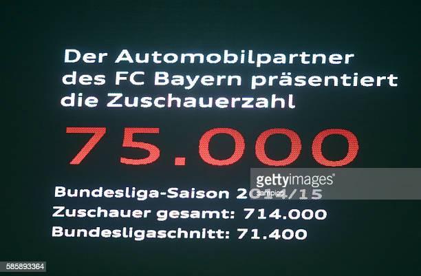 Neuer Zuschauerrekord dank Erweiterung der Sitzplatzkapazität 75000 auf der Anzeigentafel Fußball 1 Bundesliga FC Bayern München 1 FC Schalke 04...