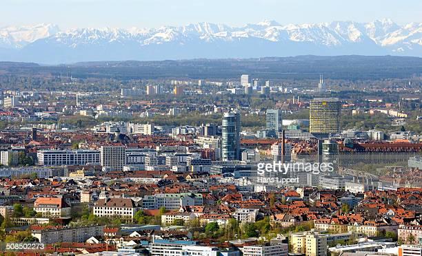 Neuhausen quarter and the Alps, during foehn weather, Munich, Upper Bavaria, Bavaria, Germany, Europe