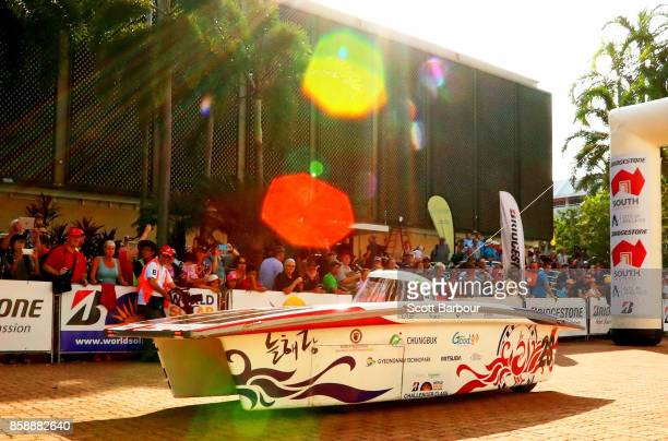 NeulHaeRang vehicle 'Woongbi' from South Korea leaves the start line as they begin racing on Day 1 of the 2017 Bridgestone World Solar Challenge at...