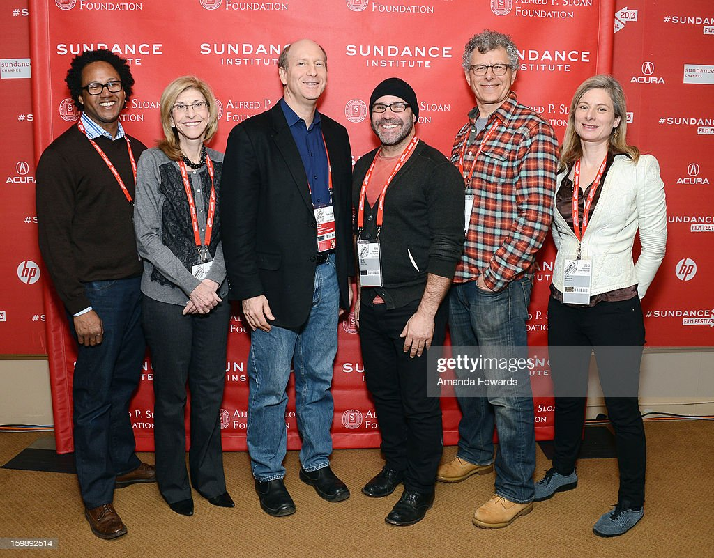 Neuroscientist Andre Fenton, producer Paula Apsell, Alfred P. Sloan Foundation's Doron Weber, filmmaker Scott Z. Burns, director <a gi-track='captionPersonalityLinkClicked' href=/galleries/search?phrase=Jon+Amiel&family=editorial&specificpeople=870949 ng-click='$event.stopPropagation()'>Jon Amiel</a>, and physicist Lisa Randall attend the Once Upon A Quantum Symmetry: Science In Cinema Panel at Egyptian Theatre during the 2013 Sundance Film Festival on January 22, 2013 in Park City, Utah.