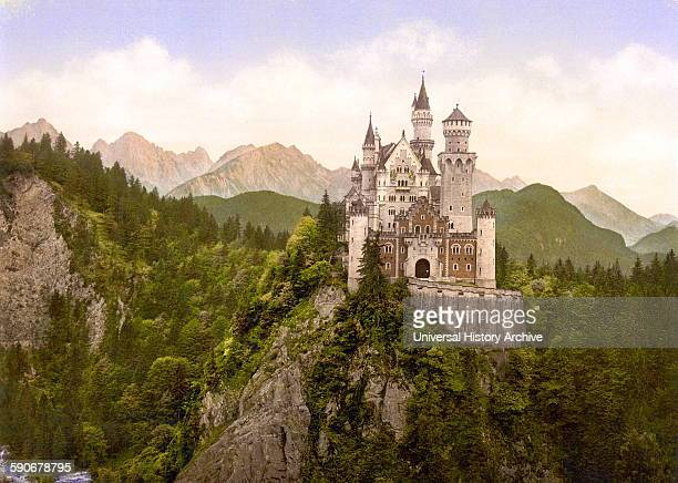 Neuschwanstein King Ludwig II castle Upper Bavaria Germany 1890