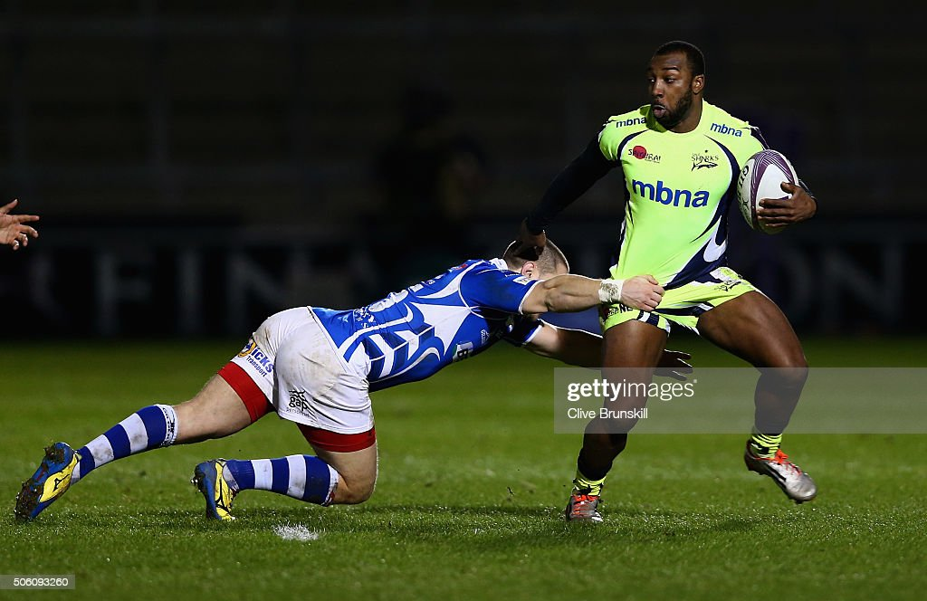 Nev Edwards of Sale Sharks in action with Geriant Rhys Jones of the Newport Gwent Dragons during the European Rugby Challenge Cup match between Sale...