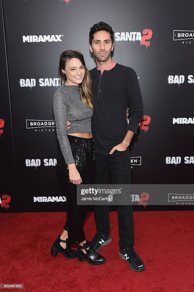 Nev Schulman and Laura Perlongo attend the 'Bad Santa 2' New York Premiere at AMC Loews Lincoln Square 13 theater on November 15, 2016 in New York City.
