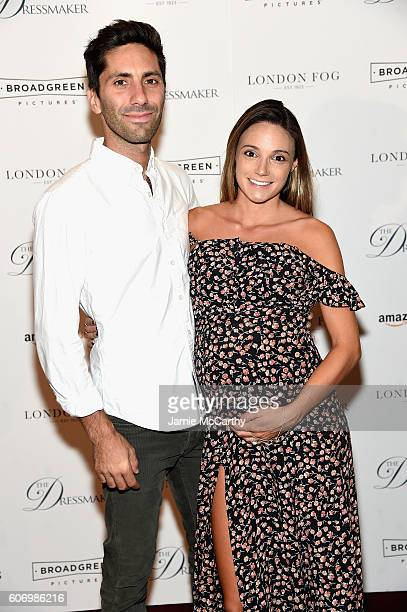 Nev Schulman and Laura Perlongo attend 'The Dressmaker' New York Screening at Florence Gould Hall Theater on September 16 2016 in New York City