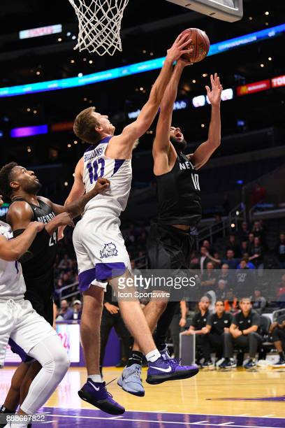 Nevada forward Caleb Martin shot is blocked by TCU forward Vladimir Brodziansky during an college basketball game between the TCU Horned Frogs and...