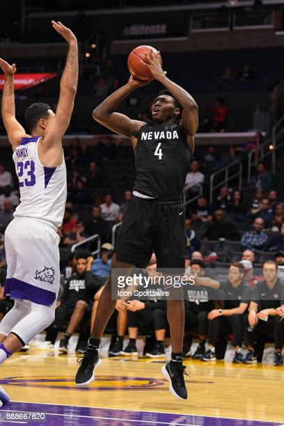 Nevada forward Darien Williams shoots a shot during an college basketball game between the TCU Horned Frogs and the Nevada Wolf Pack in the...