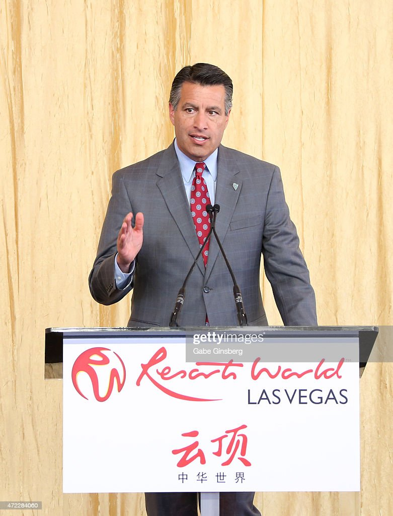 Nevada Gov Brian Sandoval speaks during the Genting Group's ceremonial groundbreaking for Resorts World Las Vegas on May 5 2015 in Las Vegas Nevada...